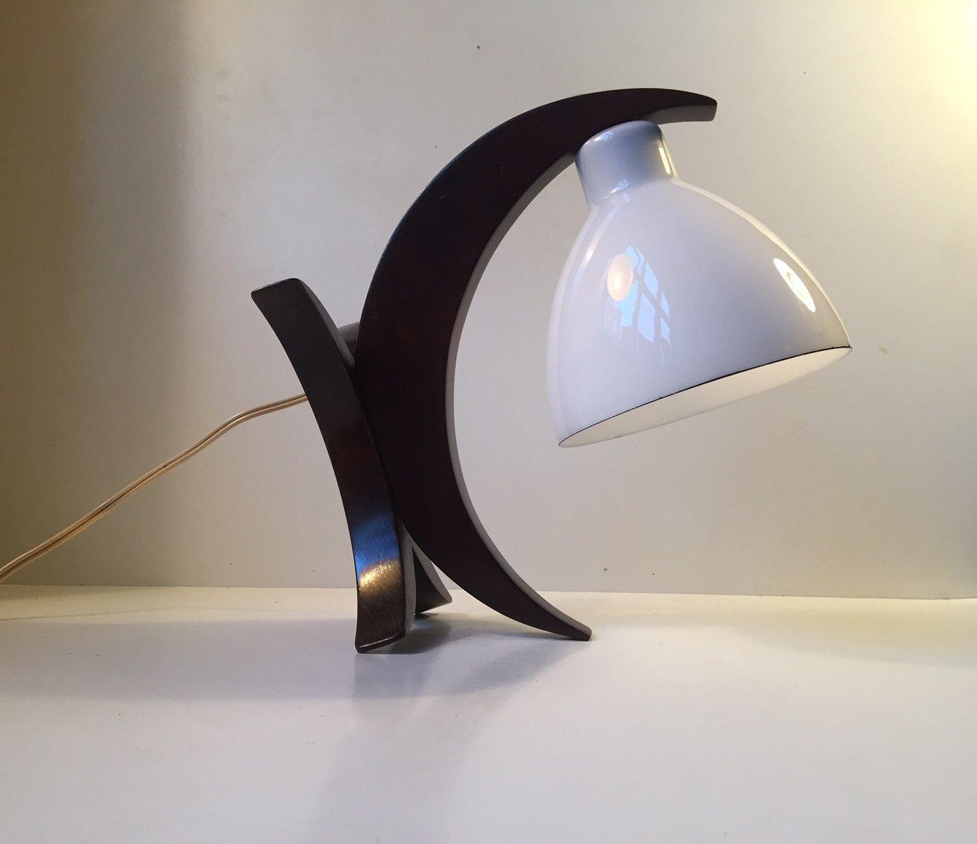 Deutsche Mid-Century Mondsichel Tischlampe aus Eiche & Opalglas, 1950e...
