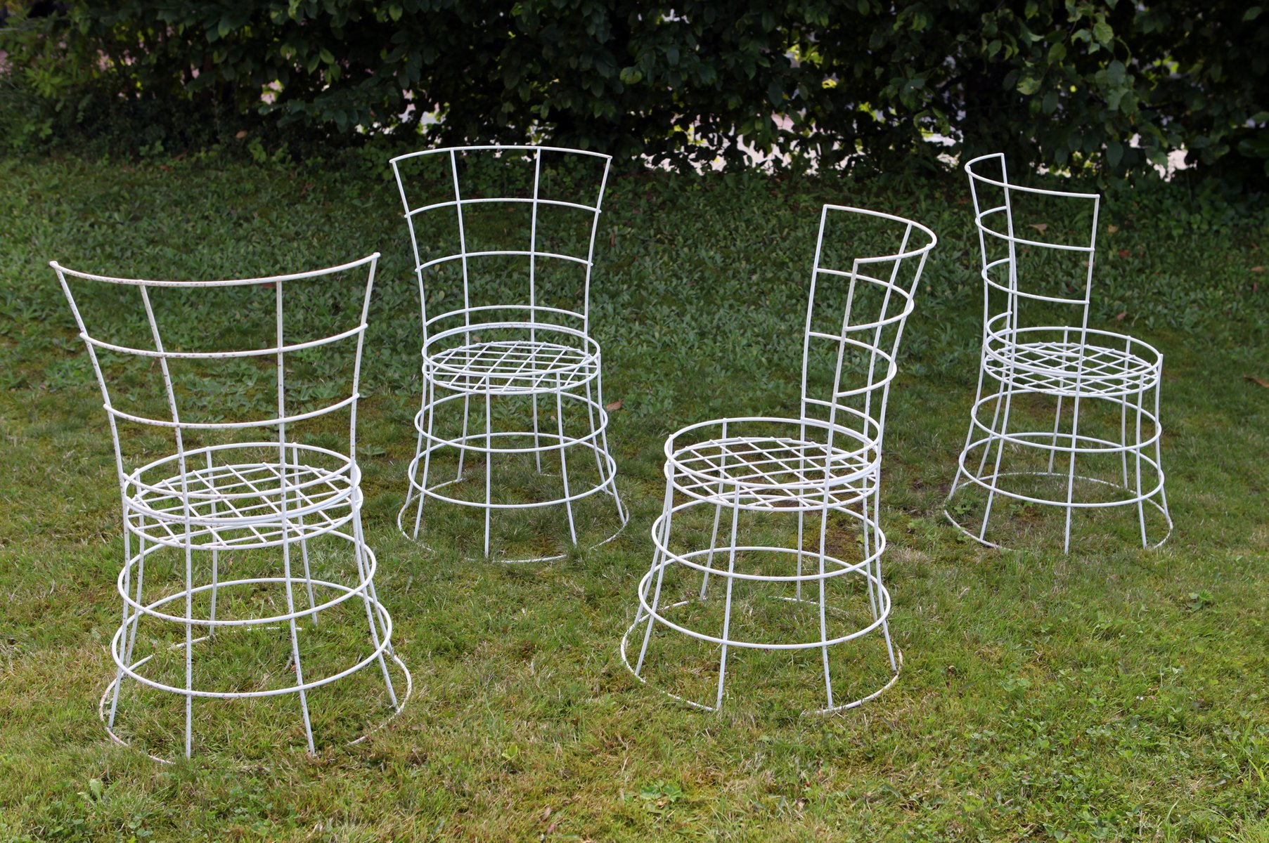 ... Mid Century French Wire Garden Chairs, Set Of 4 For Sale At Pamono  French Wire