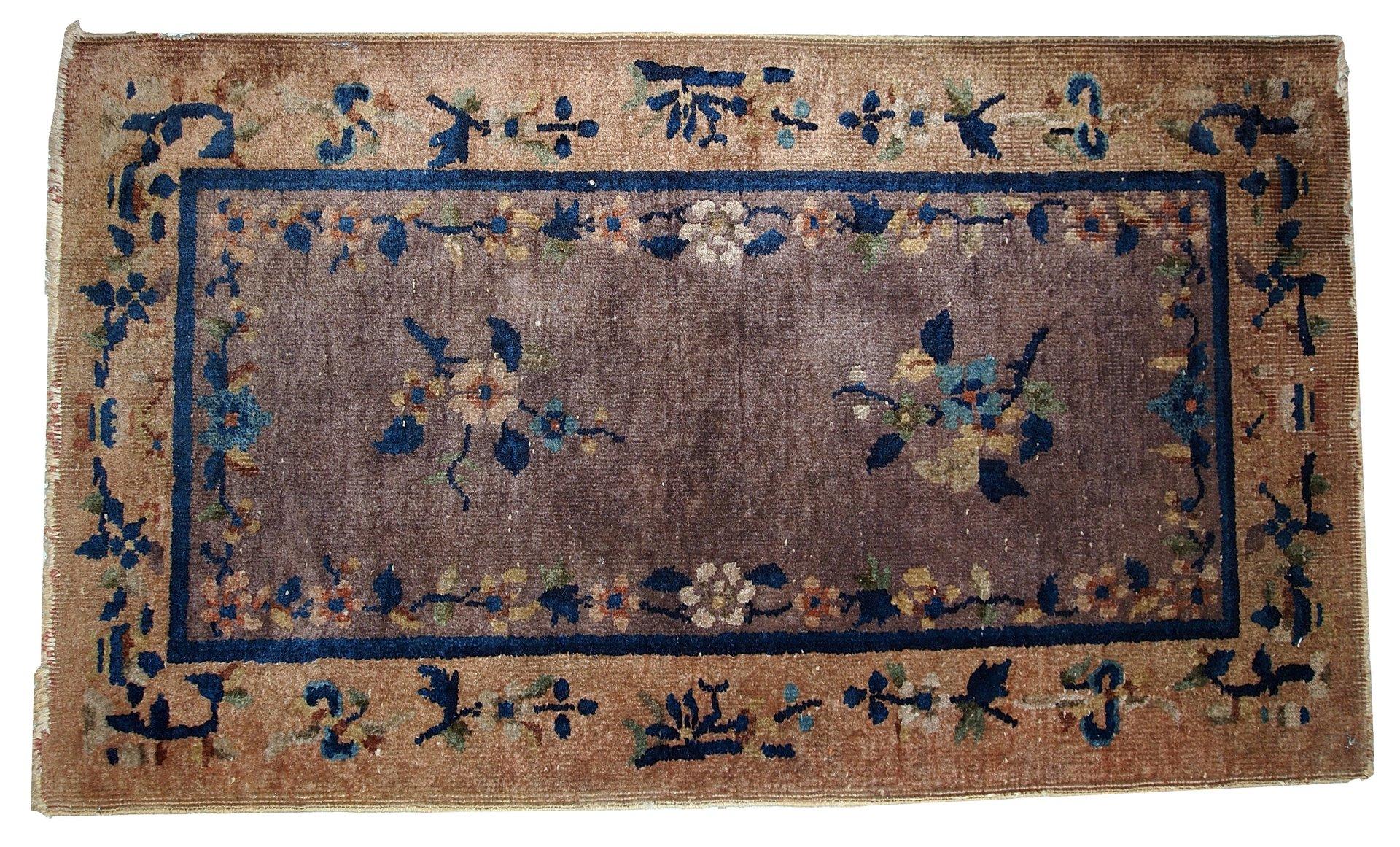 tapis art d co fait main chine 1920s en vente sur pamono. Black Bedroom Furniture Sets. Home Design Ideas