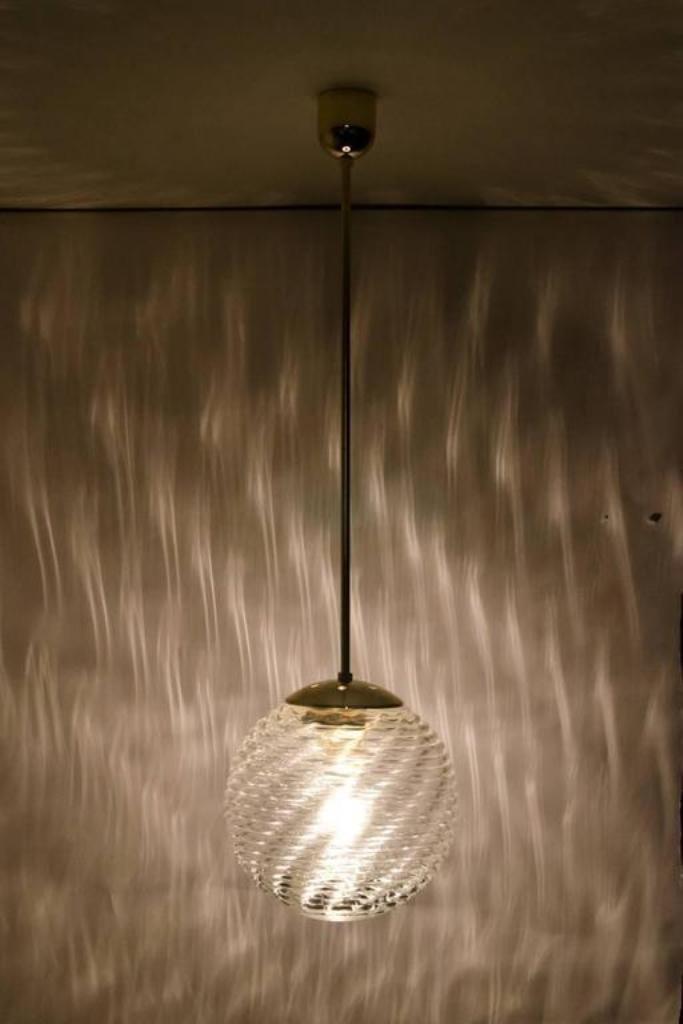 Deutsche Glaskugel Hängelampe, 1960er