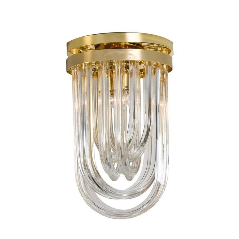 Vintage Deckenlampen aus Gebogenem Murano Glas & Vergoldetem Messing v...