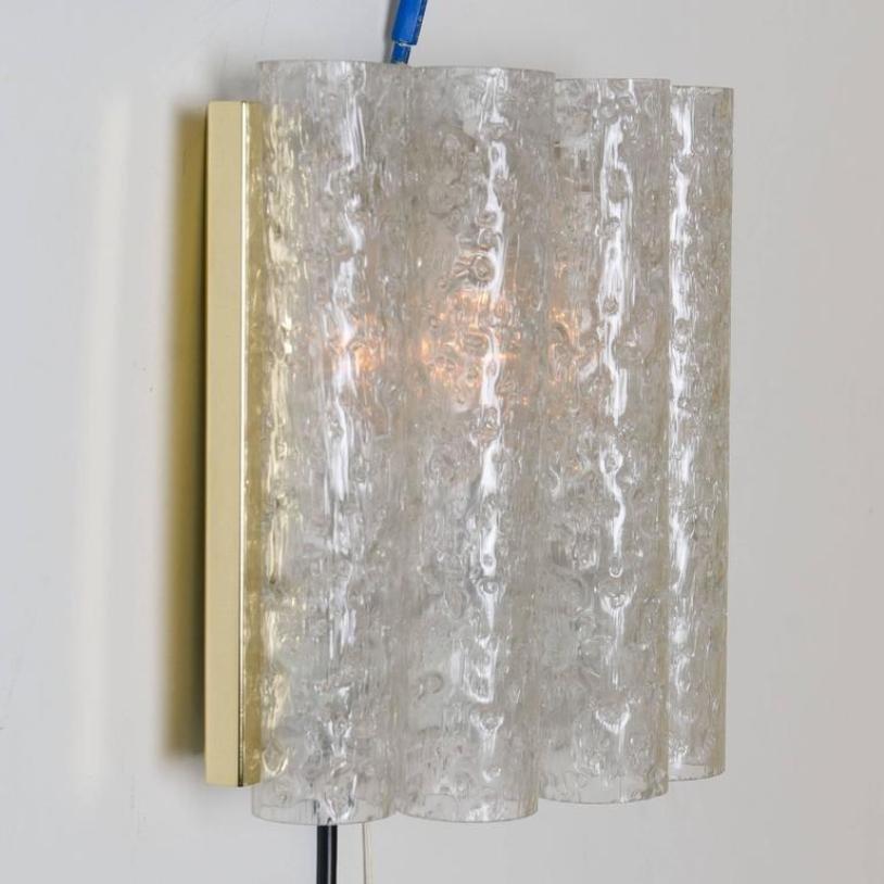 Wandlampen aus Messing & Glas von Doria, 1960er, 2er Set