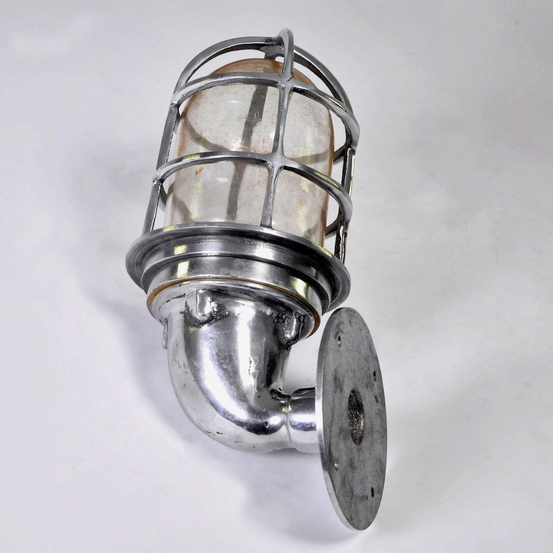 Wasserfeste Marine-Wandlampe aus Aluminium, 1960er
