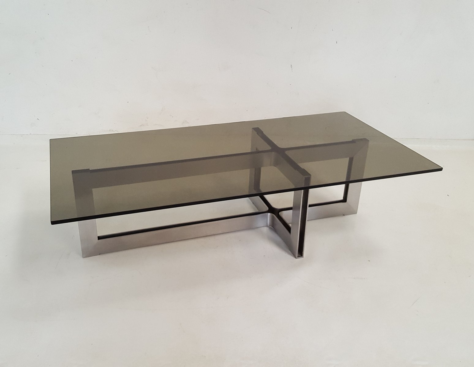 table basse en acier inoxydable et verre 1970s en vente sur pamono. Black Bedroom Furniture Sets. Home Design Ideas