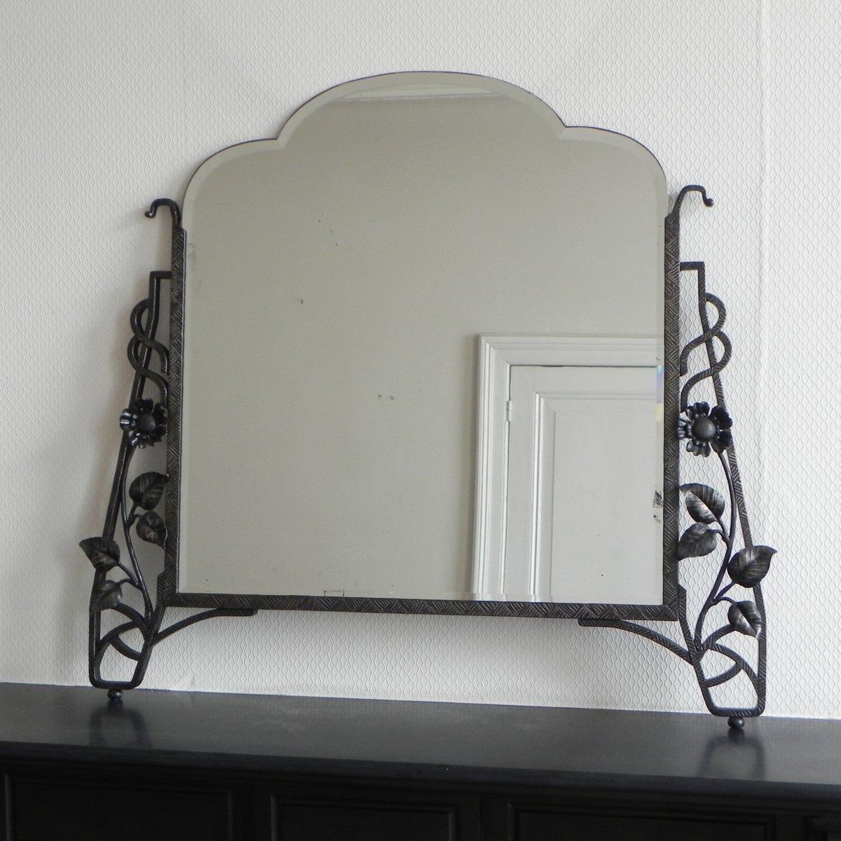 miroir art d co avec verre facettes et cadre en acier en vente sur pamono. Black Bedroom Furniture Sets. Home Design Ideas