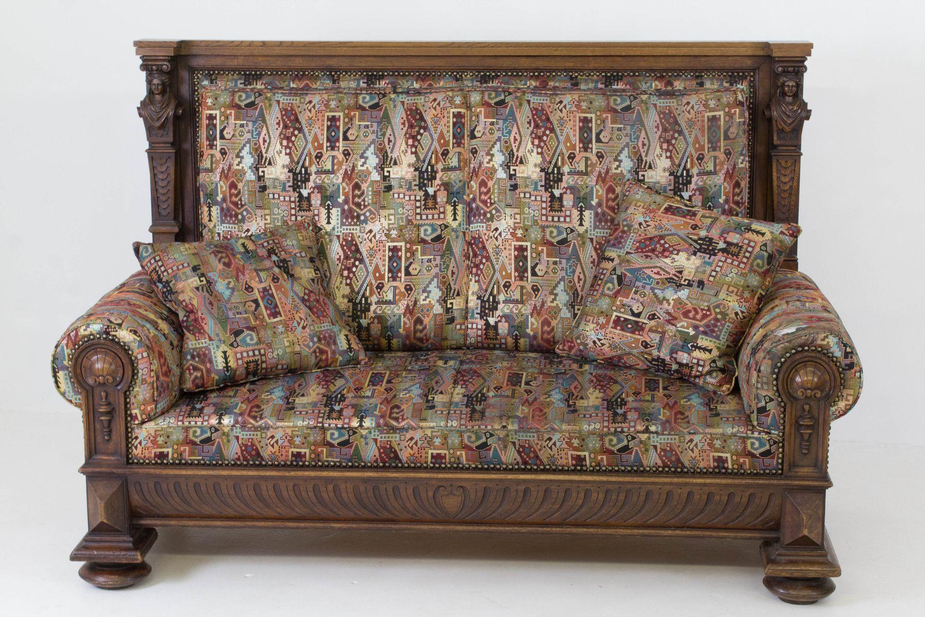 antike franz sische renaissance revival bank mit hoher r ckenlehne 1880er bei pamono kaufen. Black Bedroom Furniture Sets. Home Design Ideas