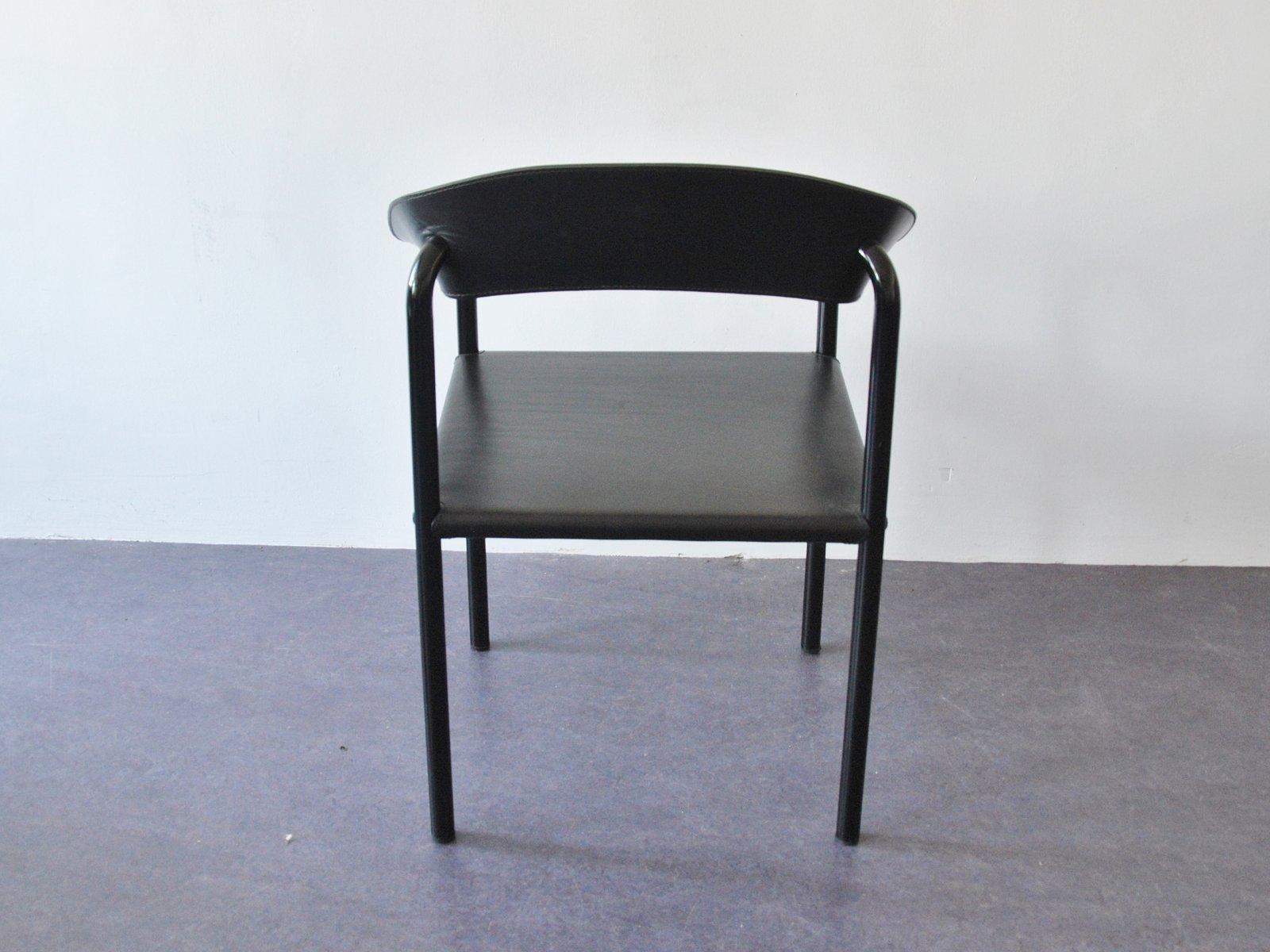 vintage esszimmerst hle aus schwarzem leder schwarz