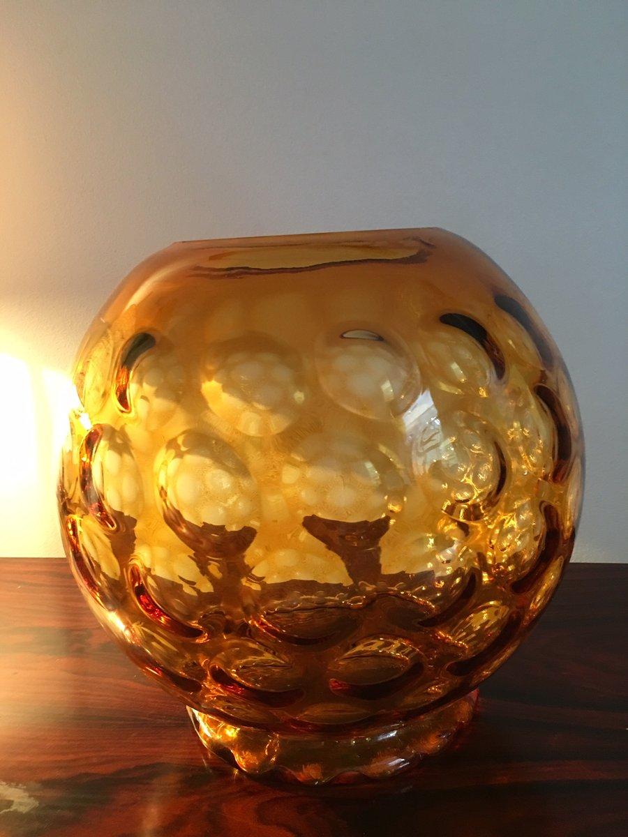 Goldene vintage glasvase von borske sklo bei pamono kaufen - Glasvase vintage ...