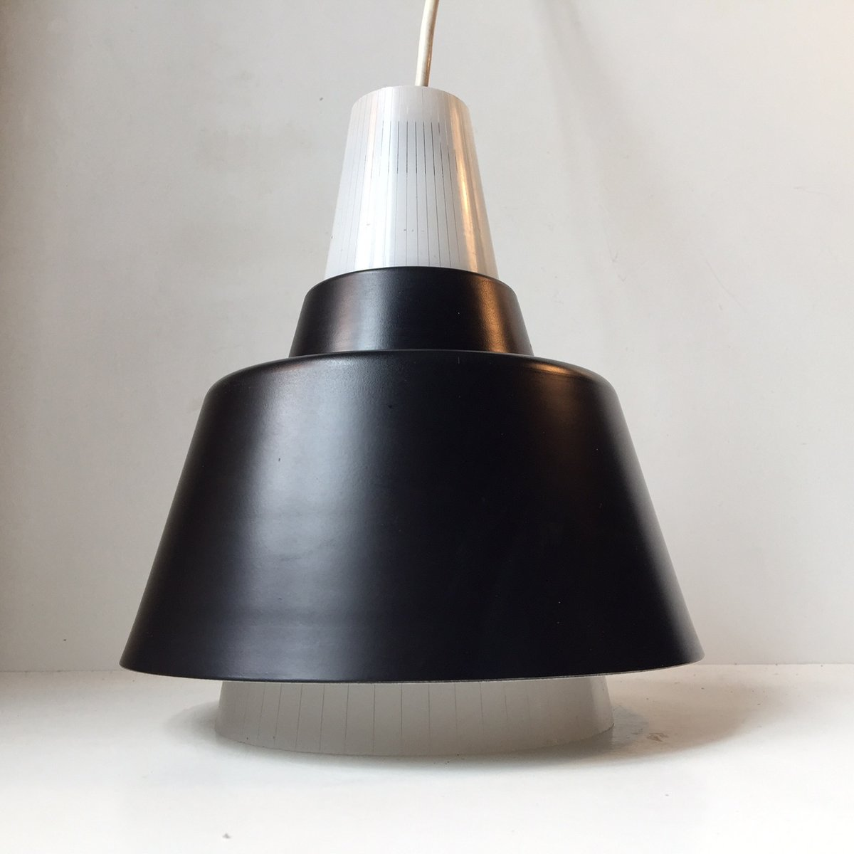 mid century italian pinstriped glass pendant light 1950s. Black Bedroom Furniture Sets. Home Design Ideas