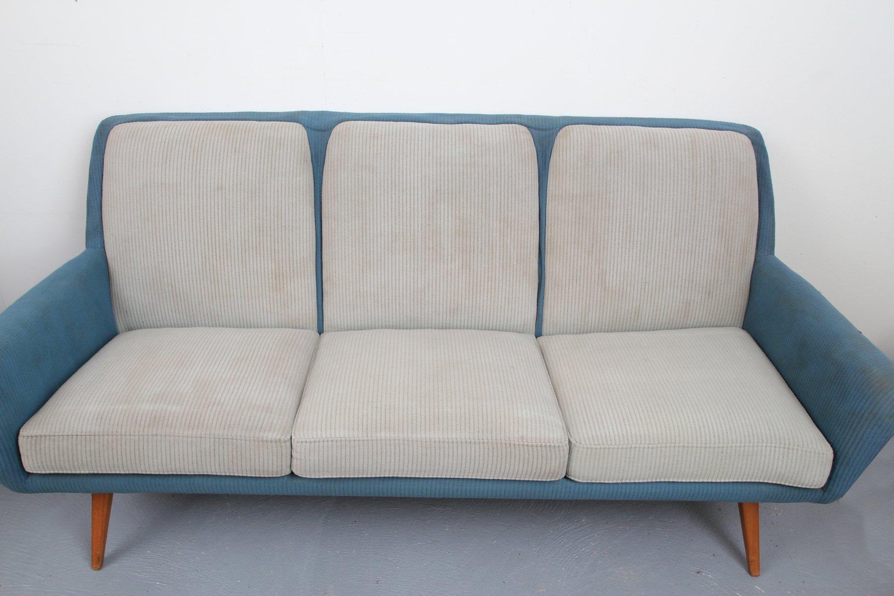 canap bleu pigeon gris clair 1950s en vente sur pamono. Black Bedroom Furniture Sets. Home Design Ideas