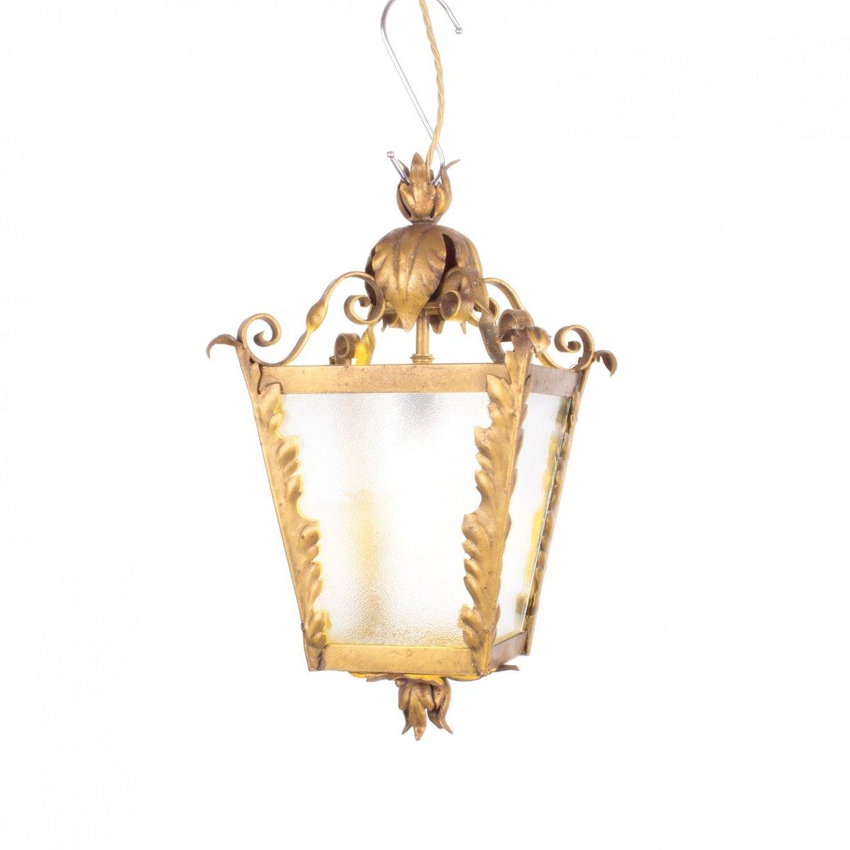 Vintage Laterne aus Vergoldetem Metall & Glas