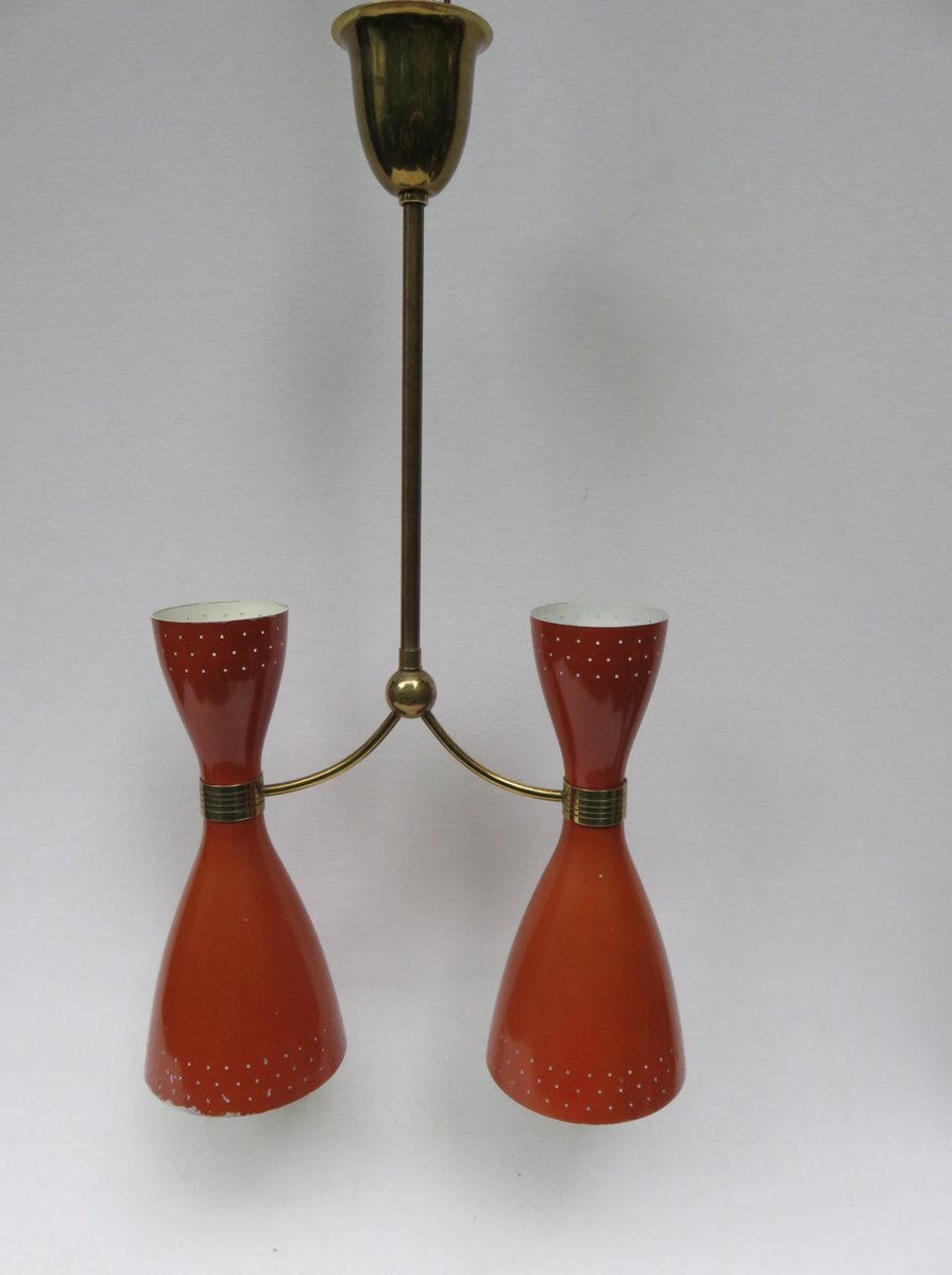 Italienische Diabolo Hängelampe in Braun-Orange & Messing, 1950er
