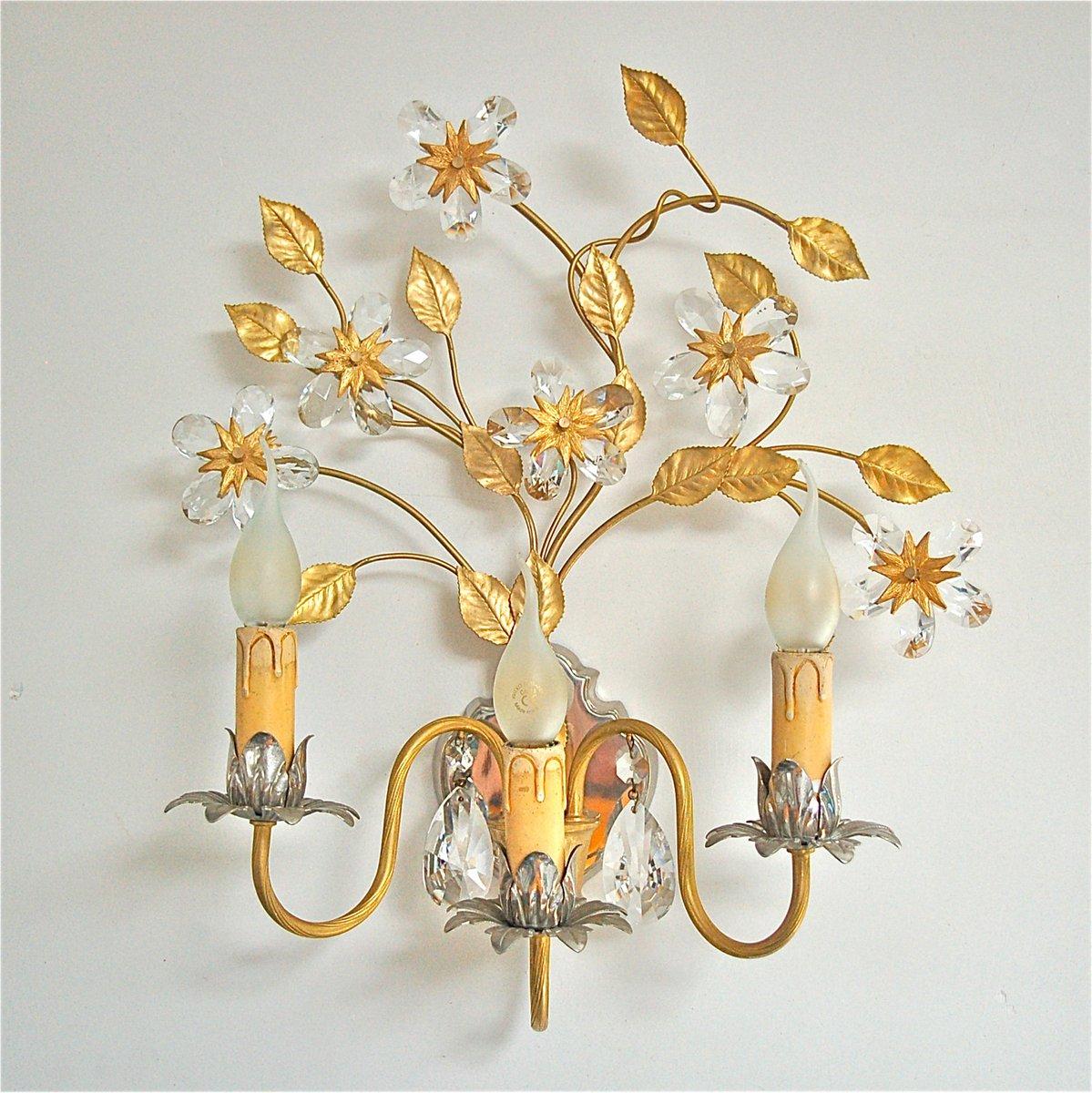 Gold- & Silberfarbene Italienische Vintage Wandlampe mit Kristallblume...