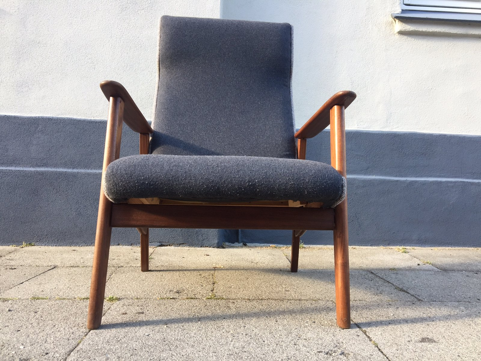 Danish Mid Century High Back Teak Easy Chair 1960s