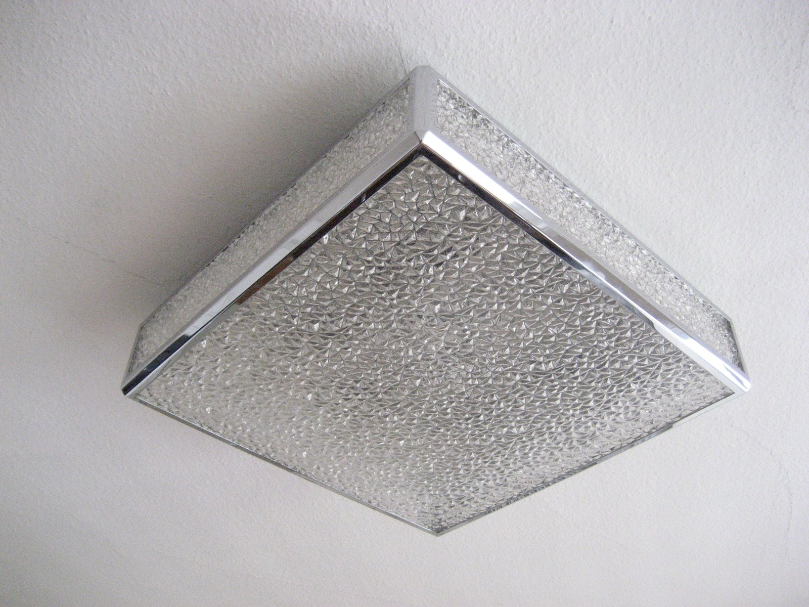 Vintage Belgian Ceiling Lamp With Plastic Sheets In Chrome Frame For