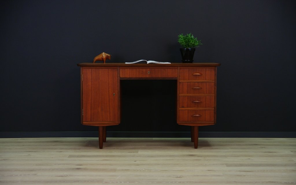 d nischer mid century teak furnier schreibtisch bei pamono. Black Bedroom Furniture Sets. Home Design Ideas
