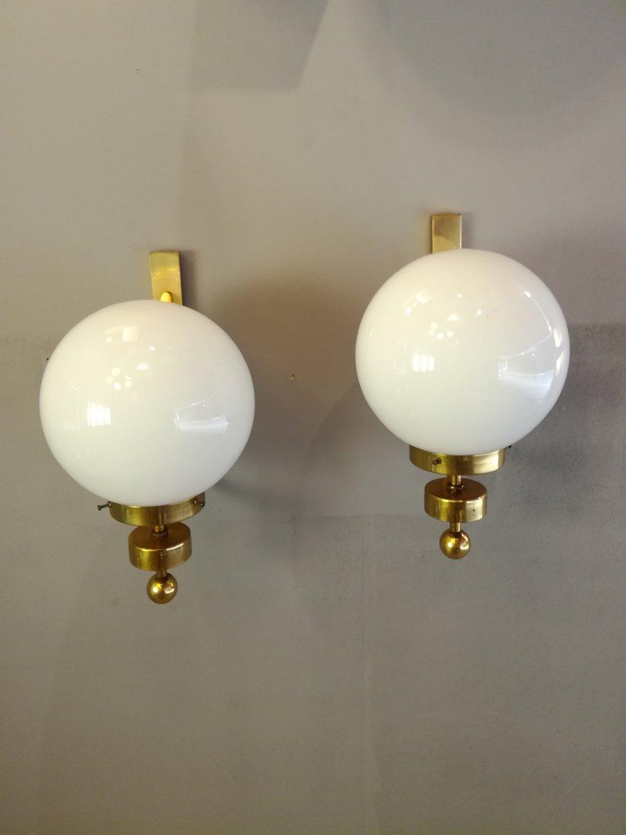 Französische Vintage Opalglas Wandlampe, 1970er