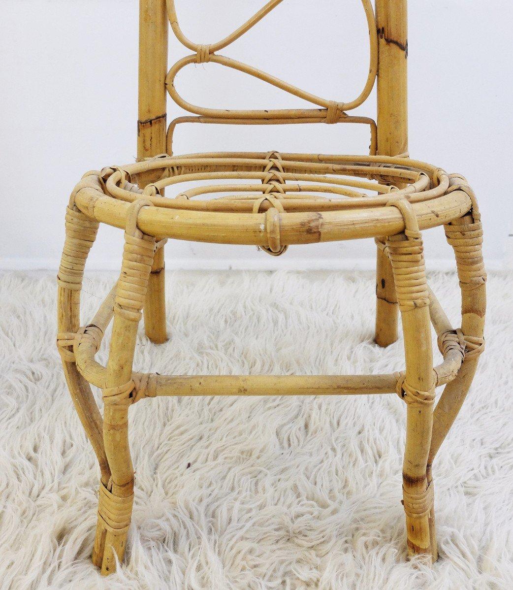 mid century st hle aus rattan bambus mit hoher r ckenlehne 2er set bei pamono kaufen. Black Bedroom Furniture Sets. Home Design Ideas