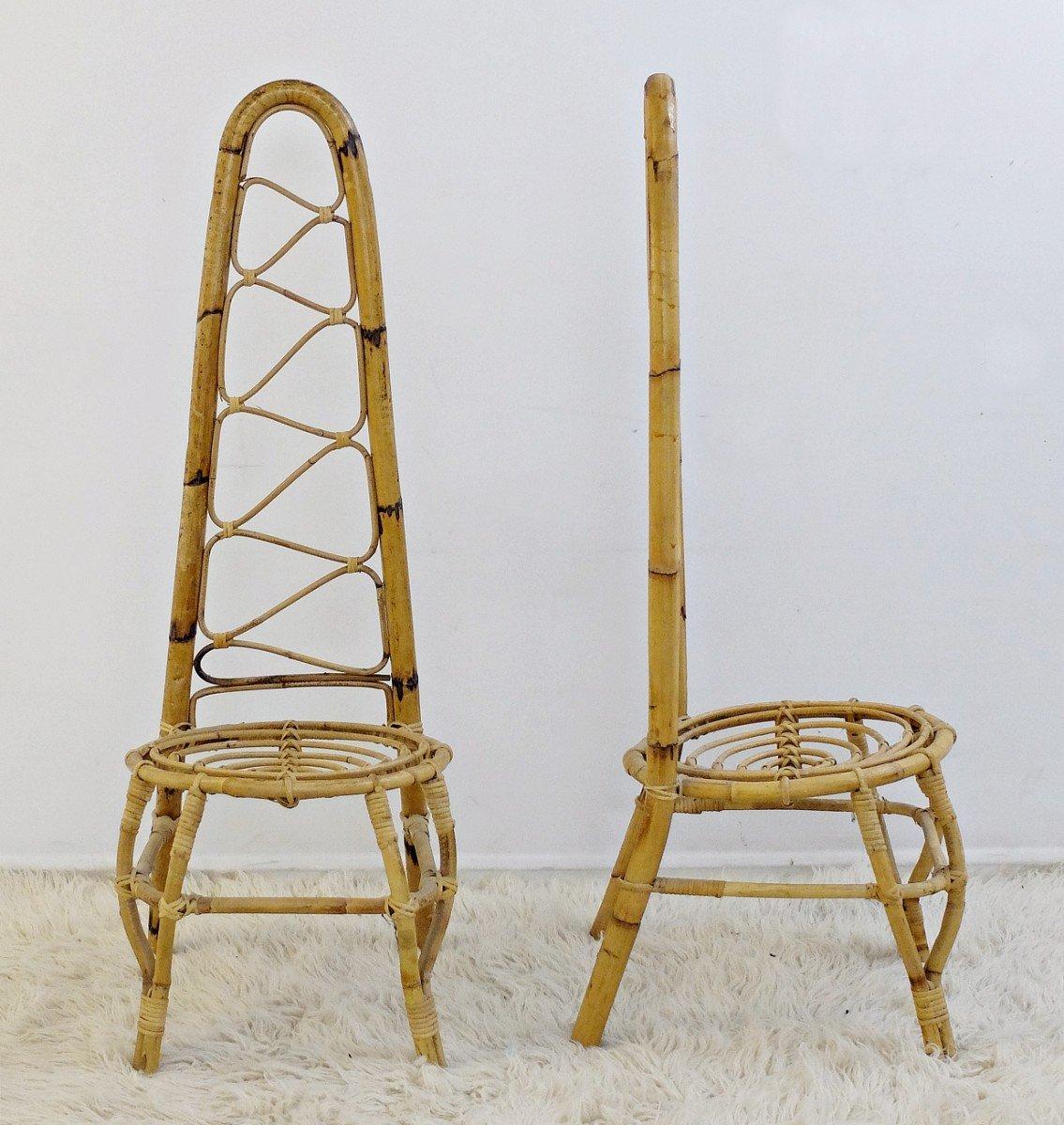 Mid Century Rattan U0026 Bamboo High Back Chairs, Set Of 2