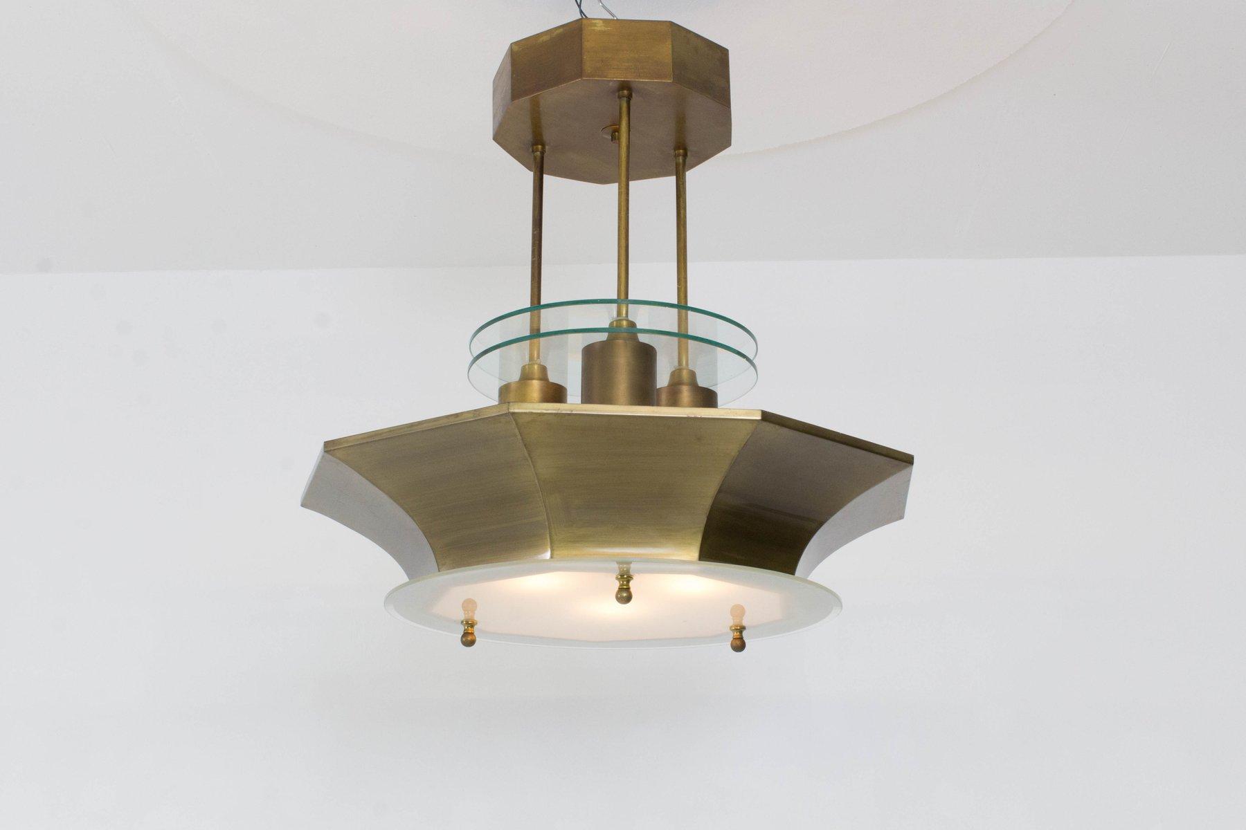 art deco haager schule lampe aus messing und ge tztem glas 1930er bei pamono kaufen. Black Bedroom Furniture Sets. Home Design Ideas