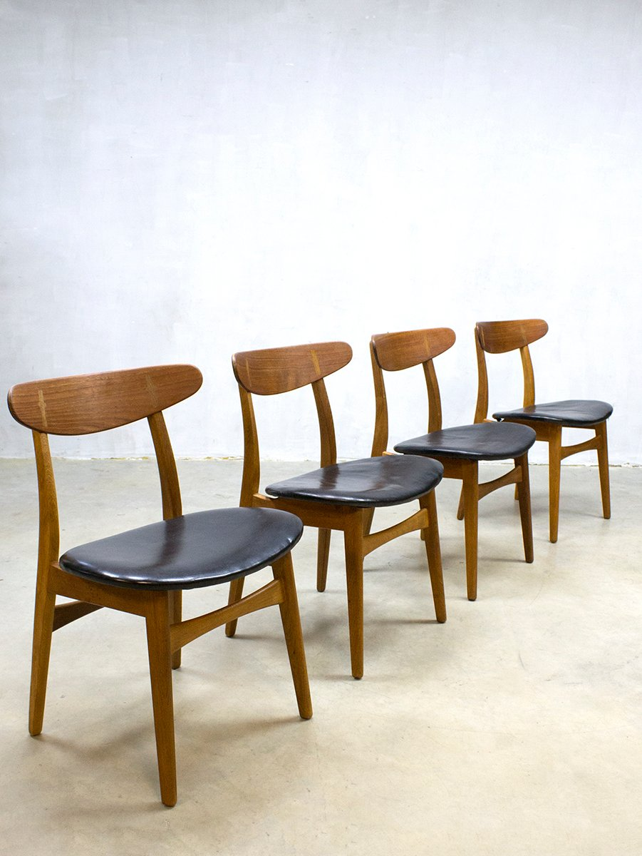 vintage ch30 dining chairs by hans j wegner for carl hansen s n set of 4 for sale at pamono. Black Bedroom Furniture Sets. Home Design Ideas