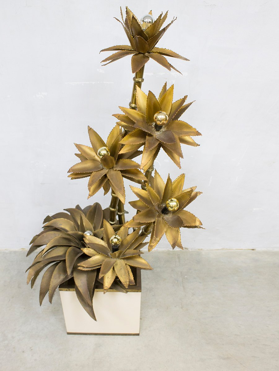 Mid-Century Messing Blumen Lampe von Maison Jansen