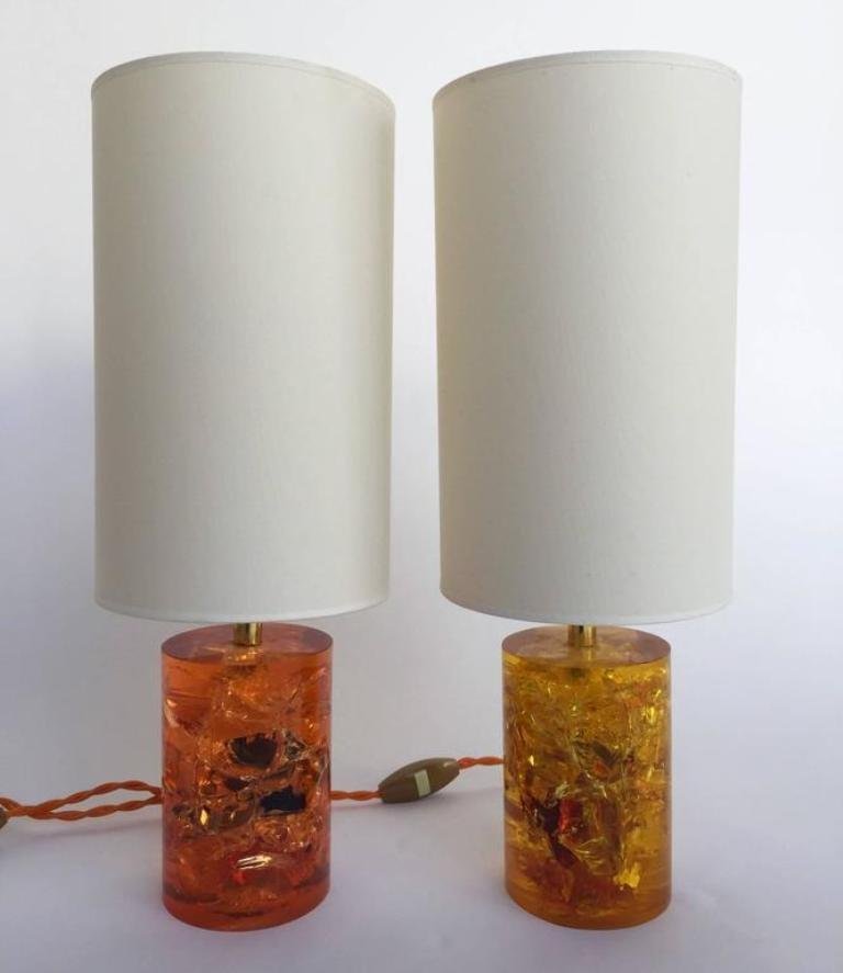 Fraktale Harz Lampen, 1970er, 2er Set
