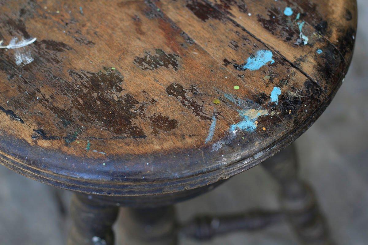 Sgabello da pianoforte antico in quercia di tonk in vendita su pamono