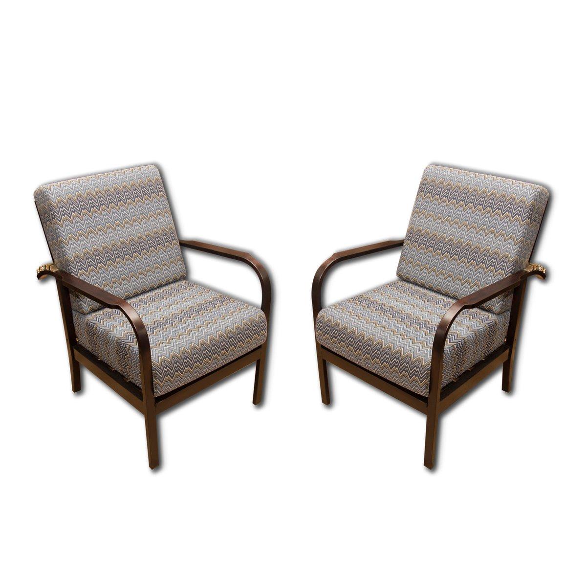 Verstellbare Buche Sessel von Jan Van?k für UP, 1930er, 2er Set
