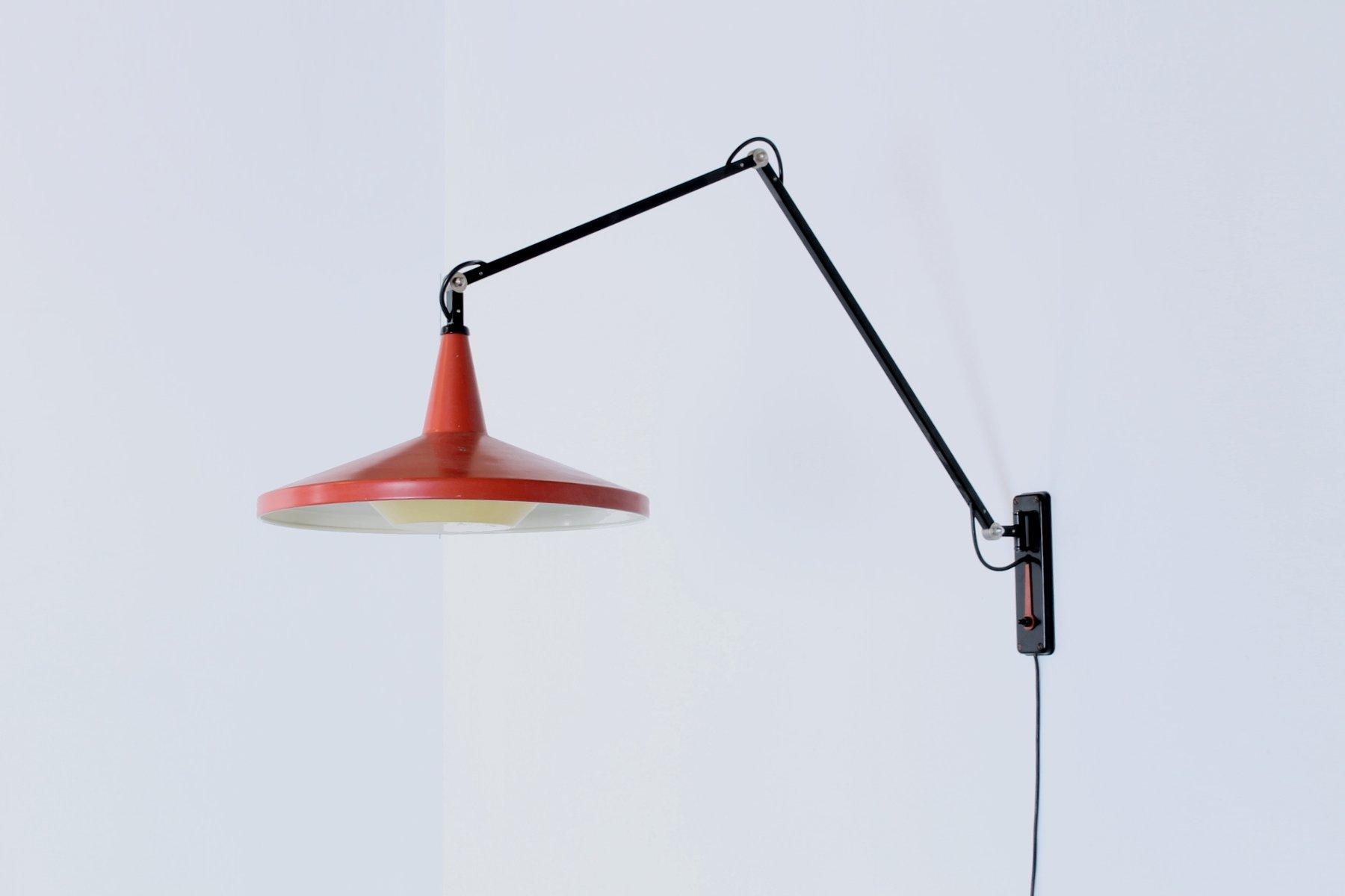 Vintage Panama Gelenk Wandlampe in Schwarz & Rot von Wim Rietveld für ...