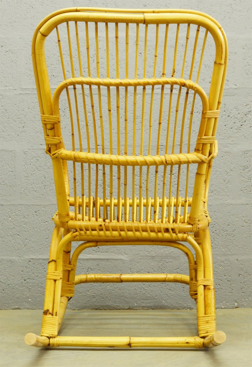rocking chair mid century en bambou et rotin 1960s en vente sur pamono. Black Bedroom Furniture Sets. Home Design Ideas