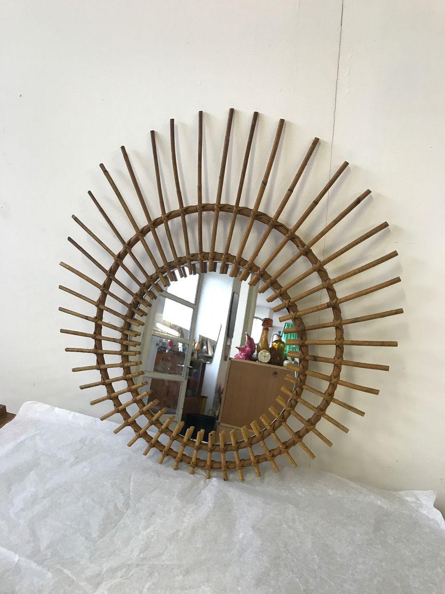 Specchio vintage a forma di sole in vimini in vendita su pamono - Specchio a forma di sole ...