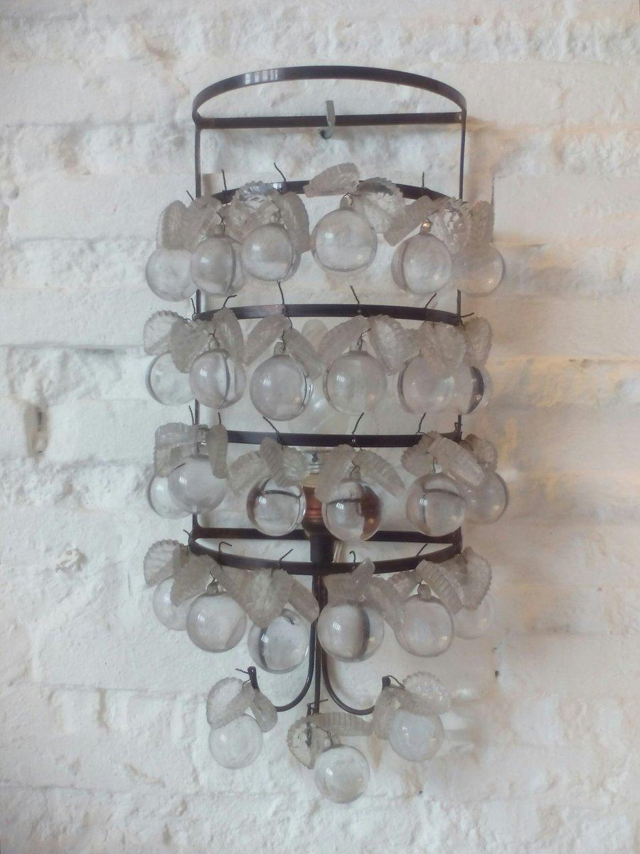 Wandlampen aus Metall & Glasfrüchten, 1960er, 2er Set