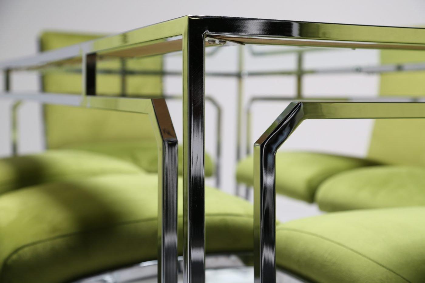 glas chrom esstisch 1970er bei pamono kaufen. Black Bedroom Furniture Sets. Home Design Ideas