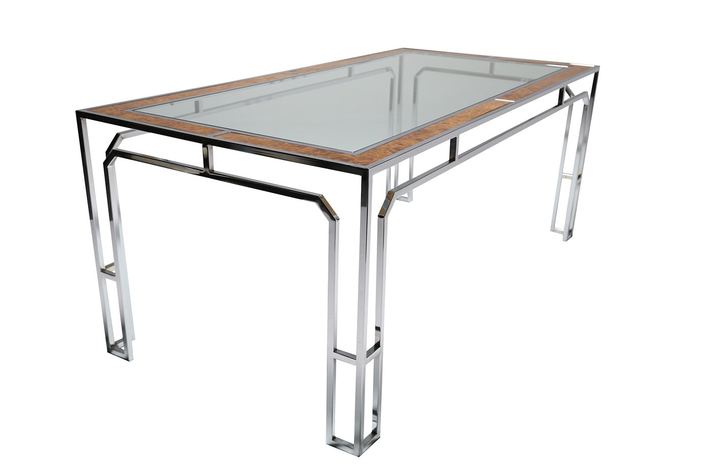 glass chrome dining table 1970s for sale at pamono. Black Bedroom Furniture Sets. Home Design Ideas