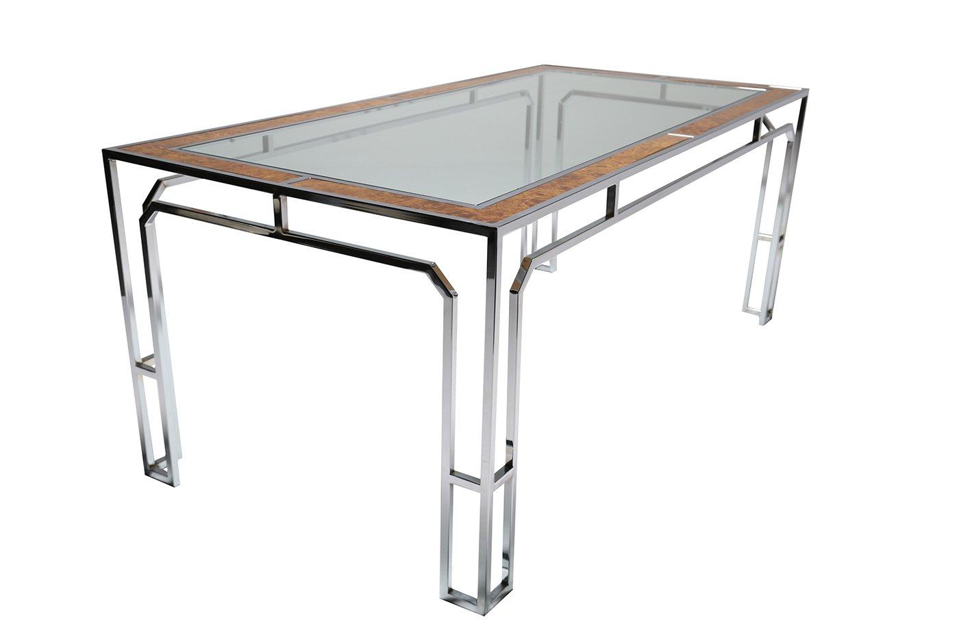 Table de salle manger en verre et chrome 1970s en vente sur pamono - Table salle a manger en verre ...