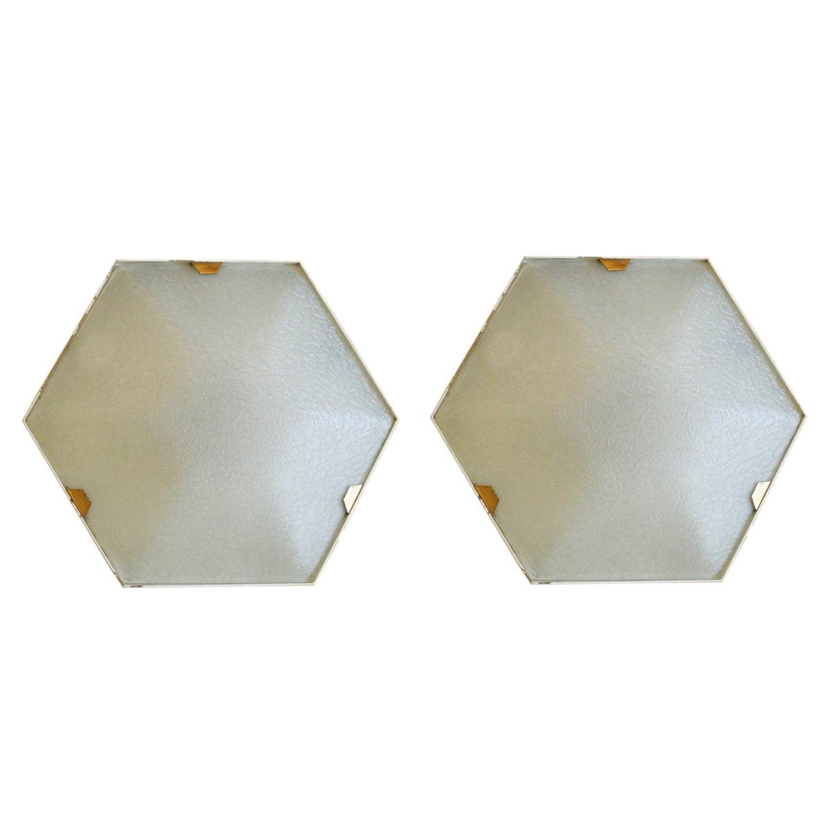Hexagonale Wandlampen von Stilnovo, 1950er, 2er Set
