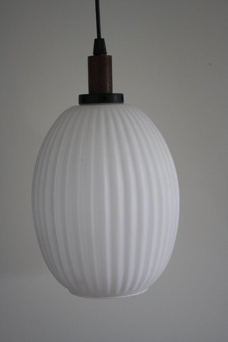 Scandinavian Teak Amp Milk Glass Pendant Light 1960s For