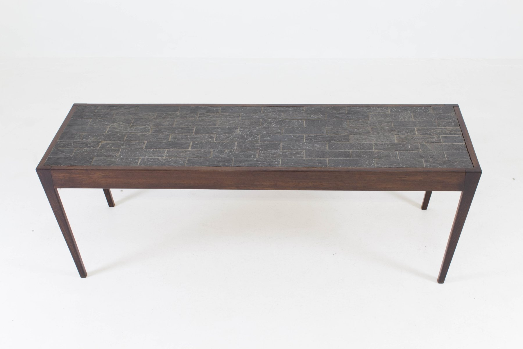 Beau Dutch Mid Century Modern Wenge Coffee Table With Slate Top, 1960s