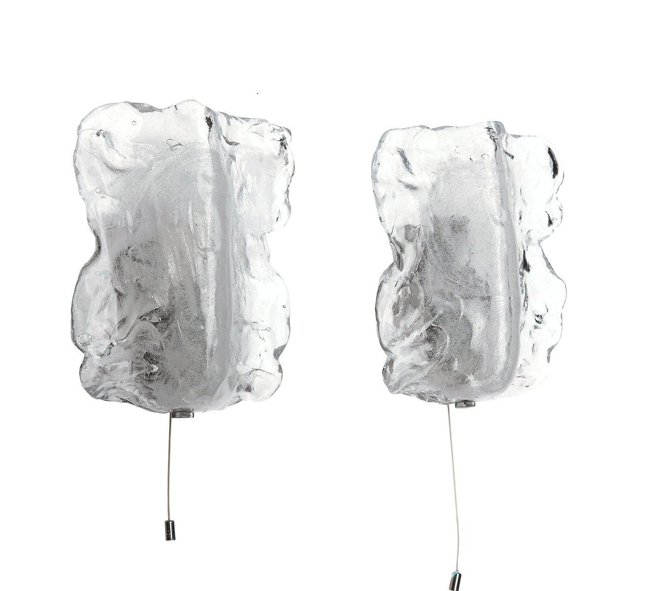Murano Glas Wandlampen von J.T. Kalmar, 1960er, 2er Set