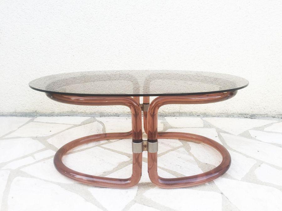Italienischer Couchtisch aus Plexiglas & Glas, 1970er