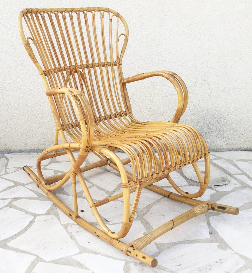 vintage rattan rocking chair 1960s for sale at pamono. Black Bedroom Furniture Sets. Home Design Ideas