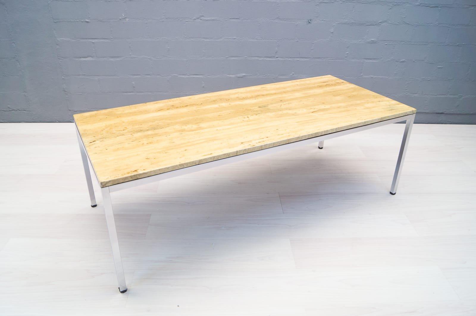 table basse en chrome et marbre 1970s en vente sur pamono. Black Bedroom Furniture Sets. Home Design Ideas
