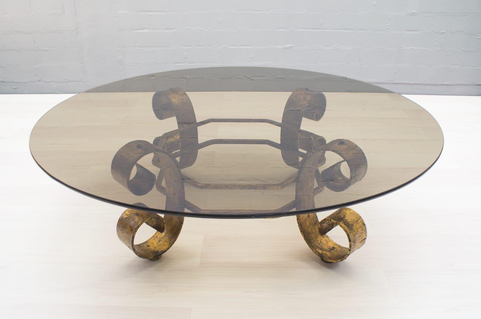 Großer Vergoldeter Spanischer Couchtisch mit Rauchglas Tischplatte, 19...