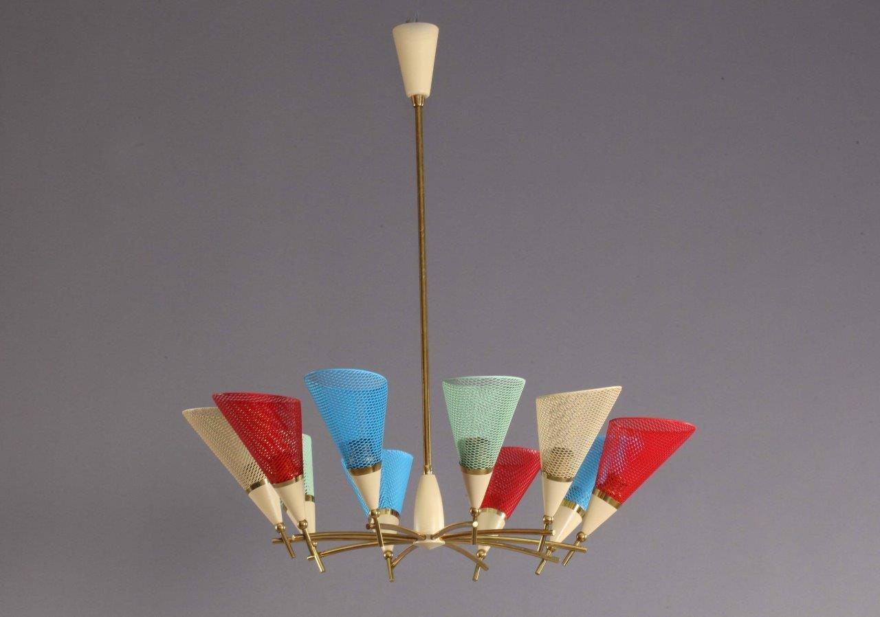 Bunte Italienische Deckenlampe, 1950er