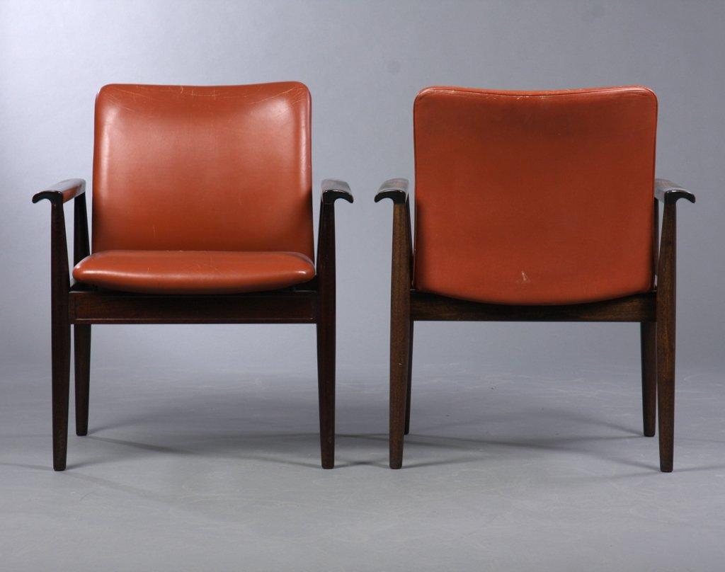 209 Diplomat Sessel aus Mahagoni & Braunem Leder von Finn Juhl für Cad...