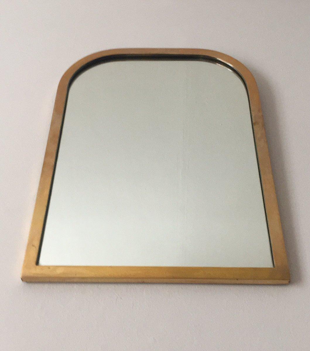 Mid Century Italian Brass Framed Wall Mirror