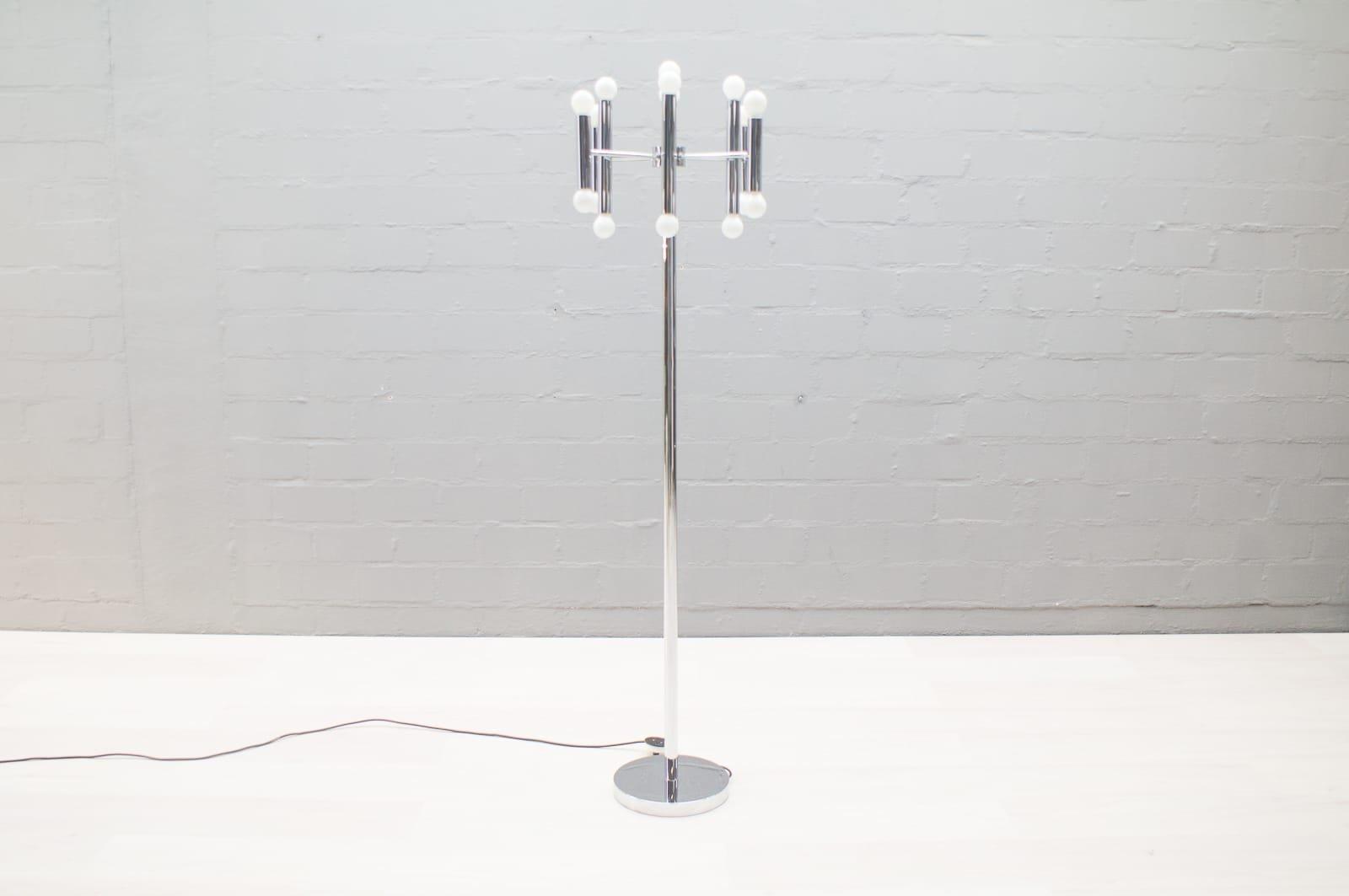 Space Age Chrom Sputnik Stehlampe mit 16 Leuchten, 1960er