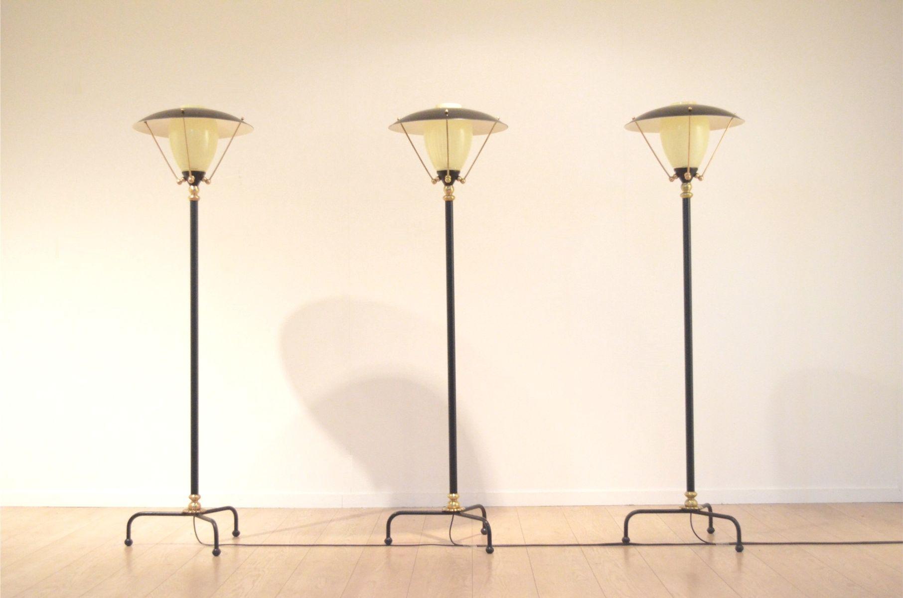 Bezaubernd Dreibein Stehlampe Dekoration Von Belgische Mid-century Messing & Glas