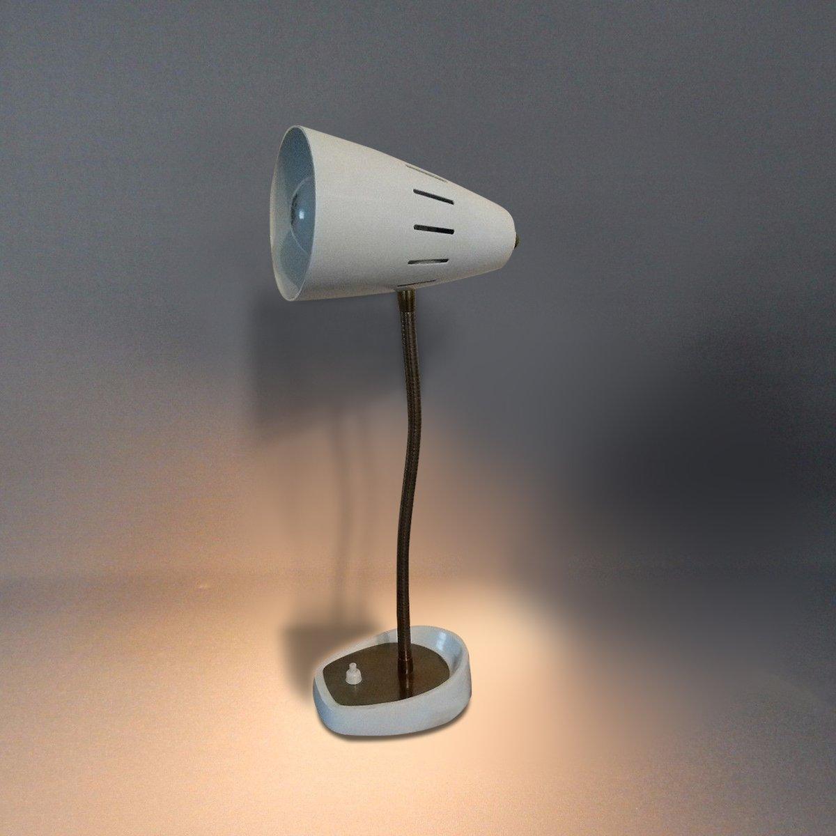 Weiße Britische Modell 971 Schwanenhals Schreibtischlampe von Pifco, 1...